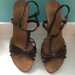 Reaction brown leather upper Sandal with wedge